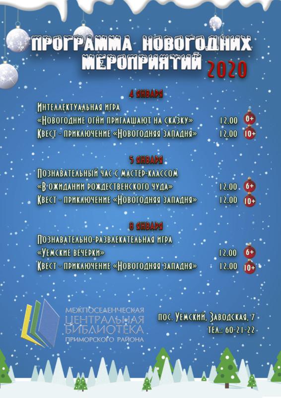 Программа новогодних мероприятий 2020
