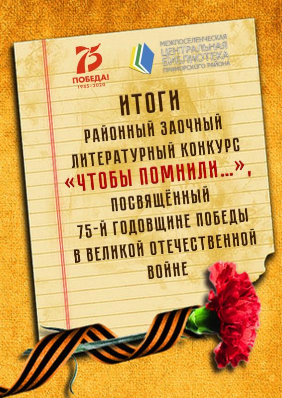 Подведены итоги районного заочного литературного конкурса «Чтобы помнили…»